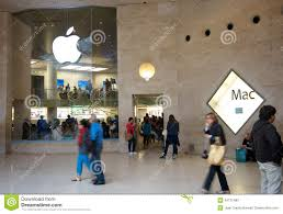 paris apple store apple store next to the louvre museum editorial stock photo