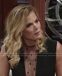 re create gina tognoni hair color wornontv phyllis s black dotted mesh panel top on the young and