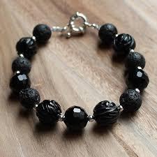 multi stone bracelet images Multi stone natural black lava carved agate semi precious stone jpg