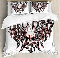 tattoo bedding queen amazon com ambesonne tattoo duvet cover set twin size goat skull
