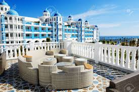 the terrace and building of luxury hotel antalya turkey stock