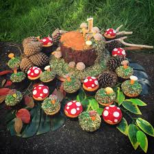 i made a tree stump toadstool cake and cupcakes for a woodland