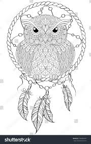 dream catcher owl tattoo antistress stock vector 709985434
