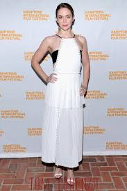 emily blunt in j mendel at the hamptons international film