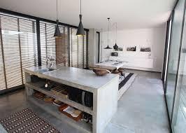 cuisine en béton ciré ilot central en béton ou l accent industriel dans notre cuisine