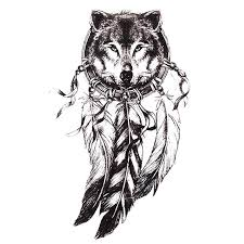 1pc sketch black tattoo sticker women men 3d body art wolf