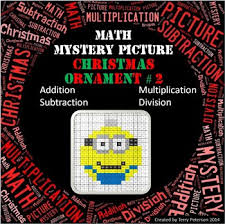 christmas math mystery picture addition subtraction multiplication