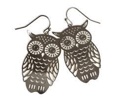 owl earrings laser cut silver owl earrings well done goods