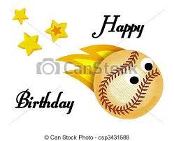 stock illustration of baseball happy birthday card beautiful