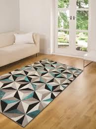 maison du tapis tapis moderne épais à motif géométrique bleu sarcelle 3 tailles