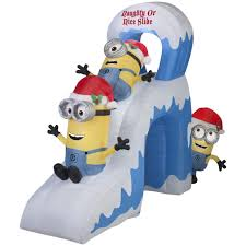 Blow Up Christmas Decorations On Roof by Gemmy Airblown Inflatable 10 U0027 Minions Decorating A Christmas Tree
