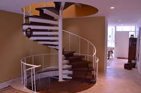 Wooden Spiral Stairs Design Ivory Wooden Spiral Staircase With Double Black Iron Baluster And