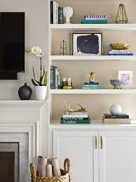 livingroom shelves beautifully decorated transitional living room is equipped built