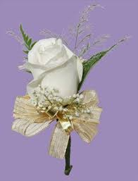 gold boutonniere wedding boutonniere white with gold leaf and gold ribbon wrap