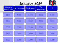 1984 jeopardy by lahill1966 teaching resources tes