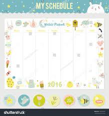 cute calendar weekly planner template 2016 stock vector 340979234
