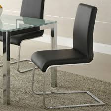 homelegance knox side chair w chrome frame in black pvc beyond