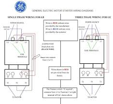 general electric motor starter 1 phase and 3 phase wiring diagrams