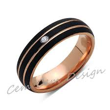 gold mens wedding band 6mm unique diamond black brushed gold tungsten ring gold
