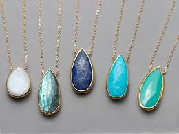 turquoise stone necklace luxurious gemstone necklace gold framed stone on simple