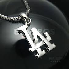 baseball jewelry la los angeles logo pendant necklace mens biker hiphop silver