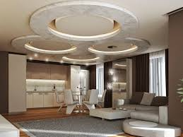 Circular Gypsum Board Ceiling Ideas For Open Space Home Design
