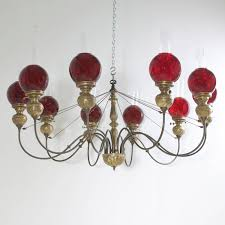 Chandelier Glass Globes English Victorian Ten Light Chandelier In Brass With Cranberry