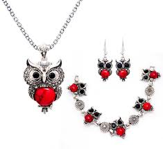 owl pendant necklace silver images Retro silver turquoise owl jewelry set model wz 1002 woodzap jpg