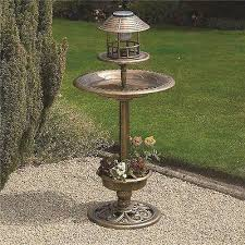 solar bird hotel feeder bath with light garden ornamental birds