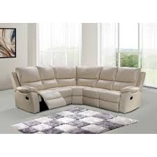 Manual Action Reclining Corner Sofa In Ivory Cream Bonded Leather - Cameo sofa