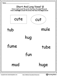 vowels short or long u sound words long vowels printable