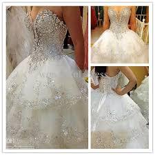 dh wedding dresses ivory rhinestone beaded appliques a line chapel