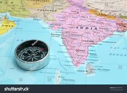 India On A Map Compass On Map Pointing India Planning Stock Photo 207995761