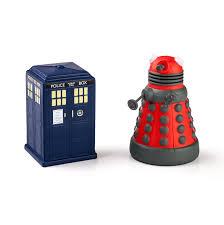 doctor who tardis and dalek stress toys thinkgeek