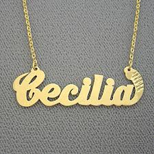 Personalized Pendant Necklace Personalized Gifts Gold Cecilia Name Necklace