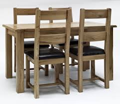 Solid Oak Furniture Oslo Solid Oak Dining Table And 4 Black Leather Chairs Ebay Solid