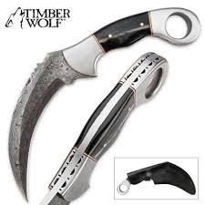 fancy knives timber wolf buffalo horn damascus steel karambit knife budk com