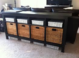 Crosley Sideboard Sofa Table With Storage Baskets