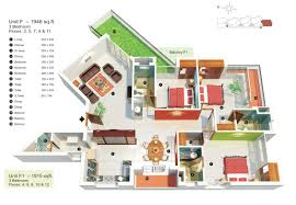 3d 3 Bedroom House Plans Three U201c Bedroom Apartmenthouse Plans Architecture Design And