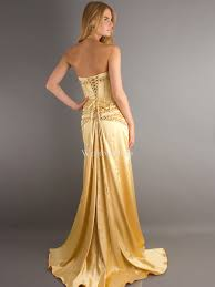 gold party dress floor length dropped waistline gold satin sheath column
