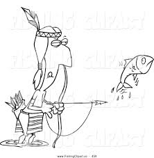 clip art of a native american man bow fishing on white by