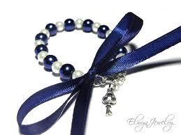 flower girl charm bracelet child pearl bracelet navy blue and white kids jewelry flower