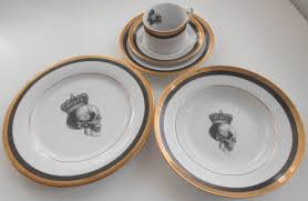 thanksgiving dinnerware tableware gold and black foodsafe skull dinnerware available without