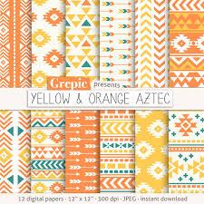 aztec digital paper yellow orange aztec aztec