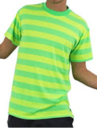 unisex green and yellow striped short sleeved t shirt plus blue
