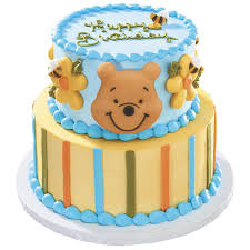 pooh and bees decoset cake with edible dec ons toppers disney baby