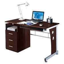 techni mobili double pedestal laminate computer desk chocolate techni mobili computer desk with ample storage chocolate walmart com