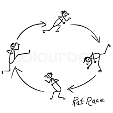 sketch with people running rounds in rat race stock vector
