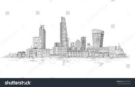 london city view thames river sketch stock vector 264776705