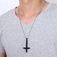 stainless steel choker necklace images Vnox male black st peter 39 s inverted cross pendant necklace for men jpg